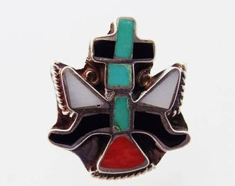 ON SALE Pretty Vintage Southwest Inlaid Sterling Ring
