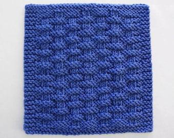 Knit Dishcloth, Cotton Kitchen Washcloth, Blue Basketweave Kitchen Cloth, Knitted Dishcloth