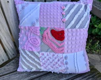 Pink Grey Vintage Chenille Patchwork Pillow Handmade Doodaba Lake Patio Nursery