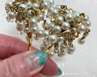 Vintage White Pearl Crystal Dangle Hair Pin Bobby Pins Bridesmaid Wedding Prom Art Deco Gold Doodaba