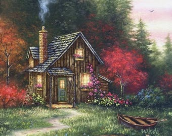 Cabin In Fall Art Print Woods Forest Cottage Autumn