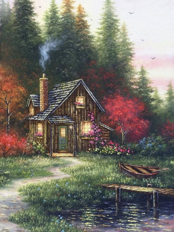 Cabin In Fall Art Print Woods Forest Cottage