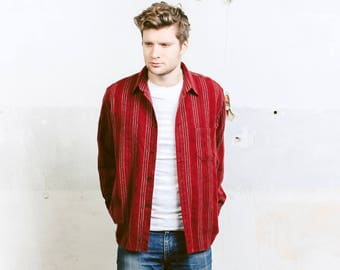Wool Blend Shirt . Vintage Mens Striped Red Wool Shirt Button Down Casual Shirt 80s Hipster Outfit Boyfriend Gift . size Medium M