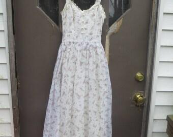 70s  Boho  corset style   flowers  garden  and lace long sleeveless  maxi dress   prairie  dress  sz 5/6