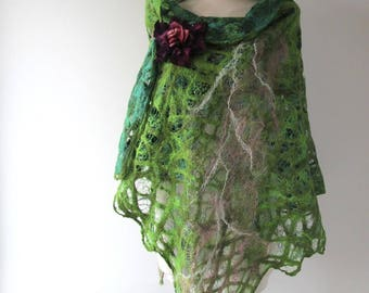 Cobweb Felted scarf Felted scarf green felted shawl green pink wool scarf light summer scarf  women scarf felted women shawl - Green forest