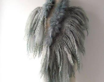 Curly Felted scarf Fur collar Grey felt collar  Grey Gray Fur scarf  Pure Wool Fleece real fur scarf Felt scarf