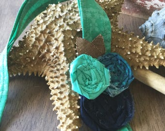 Headwrap Headband // Turquoise and Triple Blue Matching Rose // Fabric Headband