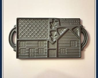 Gingerbread House Mold, John Wright, Trees, People, Cast Iron, 6 lbs.14 oz., Never Used, USA, Vintage, Dated 1985