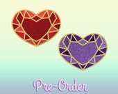 pre order red or purple cristal heart pins