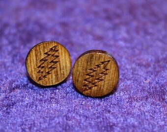 Laser etched Grateful Dead Bolt earrings