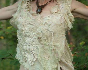 RESERVED Clear light fractal fairy top, festival lace boho
