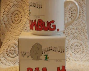 Sandra Boynton Baa, Humbug Christmas Coffee Mug, Vintage Japan Made Sheep with Bug Bah Holiday Grinch
