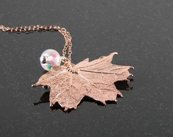 """Small Rose Gold Maple Leaf Necklace on 20"""" chain, Rosegold Necklace"""