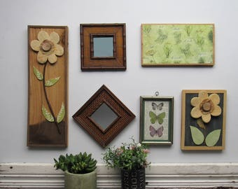"""wall gallery - """"Herbs and Flowers""""- 6 pc vintage  wall art with mirror- feng shui"""