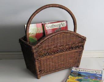 Vintage Rattan magazine rack –Chestnut Brown Wicker - mid century - rattan basket – mcm décor