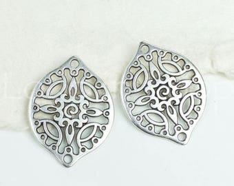 25%OFF Filigree Connector, Drop, Antique Silver w/ 2 Holes bracelet bead, oval Metal Casting, European zamac 29x22mm - 1 pc