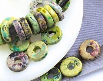 25%OFF 20 Mykonos beads round washer 8mm Round Spacers Flat Washers Disk Greek Ceramic bead Speckled green purple blue grey black
