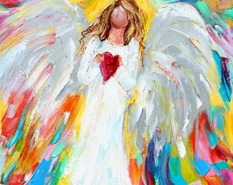 Angel of my Heart painting original oil 12x12 abstract palette knife impressionism on canvas fine art by Karen Tarlton