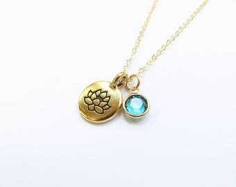 Lotus Birthstone Necklace 14kt Gold Fill Swarovski Crystal Necklace, Bridesmaids Gift, December Turquoise Birthstone, Personalized Custom