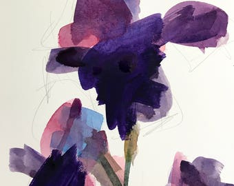 Purple Iris no. 2 Original Floral Watercolor Painting by Angela Moulton 8x 10 inch with 11 x 14 inch Mat