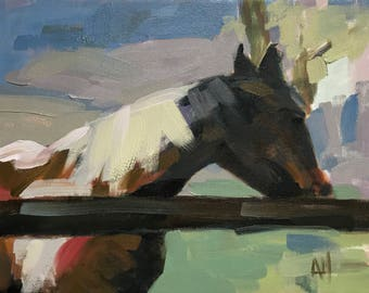 Dusty Original Horse Painting by Angela Moulton Oil Painting 14 x 18 inches
