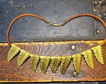 Vintage And New Brass Leaf Choker Necklace