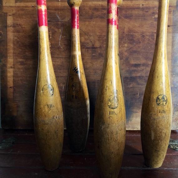 vintage 1940s Medart wooden juggling pins, St  Louis