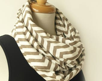 Chevron scarf - Brown and white infinity scarf - Loop scarves