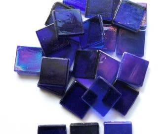 "15mm (3/5"") Cobalt Blue Foil, Opaque and Transparent Mix Glass Mosaic Tiles//Mosaic Tiles//Mosaic Supplies//Craft Supplies"