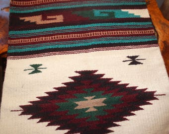 """Southwestern Wool Rug - 20 x 40"""" Handwoven Turquoise Cranberry Mustard Forest Green Off White"""