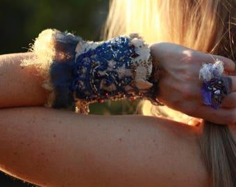 Blue vintage lace beaded cuff, boho beaded cuff, festival embroidered cuff, textile bracelet, fiber art cuff, gypsy tattered lace cuff
