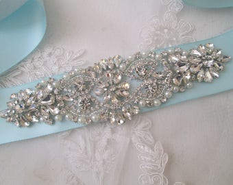 Light Teal, Light Aqua Blue Bridal Sash, Crystal Pearl Wedding Belt, Rhinestone- Diamond Sash, Something Blue, Tiffany Blue Sash Belt
