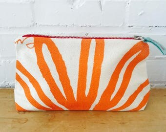 Orange Bloom make-up bag, Ready To Ship Now