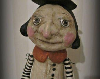 Halloween Witch - art doll- paper mache - OOAK doll- handmade art doll- folk art