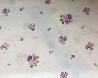 Vintage Sheet Fabric Purple Roses on White 60 x 80 inches