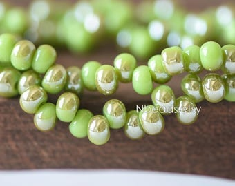Crystal Glass Smooth Seed Beads 6mm, Sparkly Grass Green Brown (GM018-12)/ 95 beads full strand