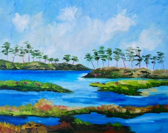 16 x 20 Modern Impressionist Original Oil Kiawah Island South Carolina Marsh View Landscape Painting by Rebecca Croft