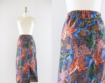 ON SALE botanical cotton midi skirt