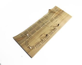 """Hand Crafted Wood Cribbage Board - Optional Engraving - Live Edge Maple Wood - 120 Hole Three-Track - 16-1/4"""" x 6-1/2"""" x 5/8"""""""