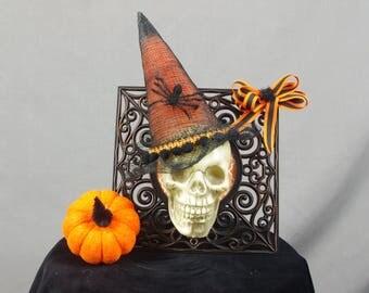 Halloween Skull, Skull in a Frame, Witch Skull, Halloween Decoration, Skull Decor, Spooky Decor, Black and Orange, Skull Centerpiece
