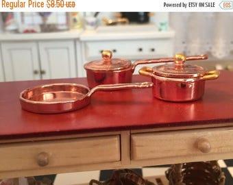 SALE Miniature Copper Pots And Pans, Casserole and Skillet Pans #8167, Dollhouse Miniature, 1:12 Scale, 5 Piece Copper Casserole Cookware Se