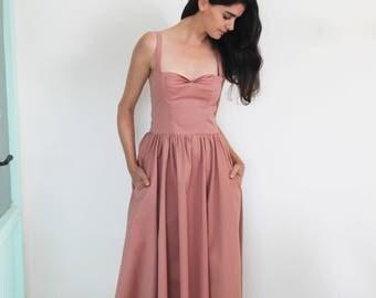 Blush midi dress /Sleeveless tea length dress / bridesmaid dress with pockets / pin up dress /  blush evening dress / blush party dress