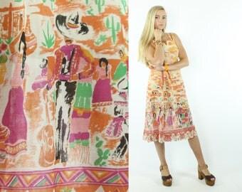 Vintage 70s Novelty Dress Hippie Boho Sleeveless Sundress 1970s Large L Mexican Serbin Orange White