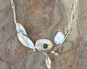 Ocean Jasper and Silver Necklace. Designer Cabochon Jewelry for Charity. NC16