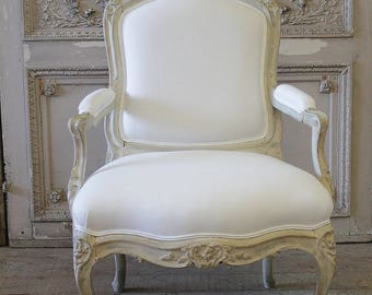 Antique Louis XV style fauteuil painted and upholstered in belgian linen
