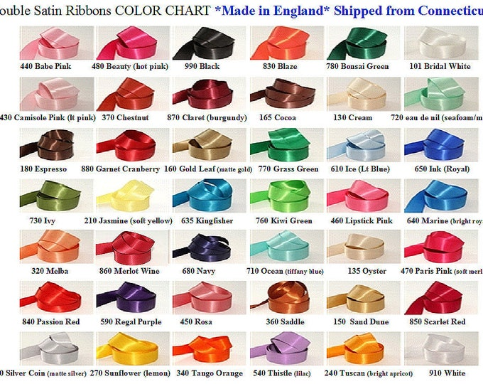 Double Face Satin,  1-1/2 inch width (38 mm) Woven Edge Ribbon, Many Colors, 15 ft roll (5 yds) Made in England