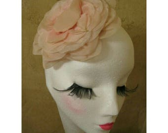 Vintage 50s Light Pink Rose Flower Hat Hair Fascinator WONDERFUL