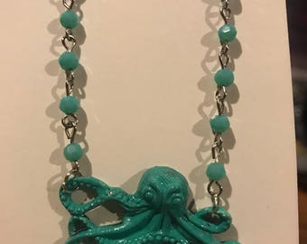 Mint kraken octopus necklace FREE SHIPPING