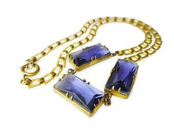 Art Deco Gold Bookchain Amethyst Glass Necklace - Violet Purple, Gilt Gold Tone, Art Deco Necklace, Art Deco Jewelry, Antique Jewelry
