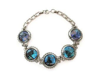 Butterfly Wing Bracelet - Blue Morpho, Genuine Butterfly Wing, Silver Pot Metal, Pine Tree, Art Deco Bracelet, Vintage Jewelry